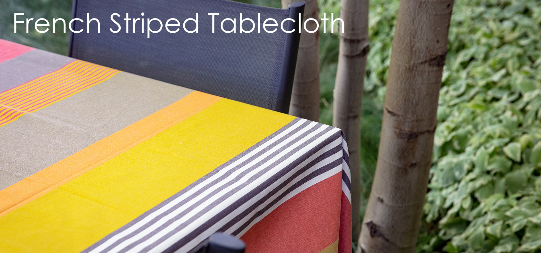 French striped table cloth