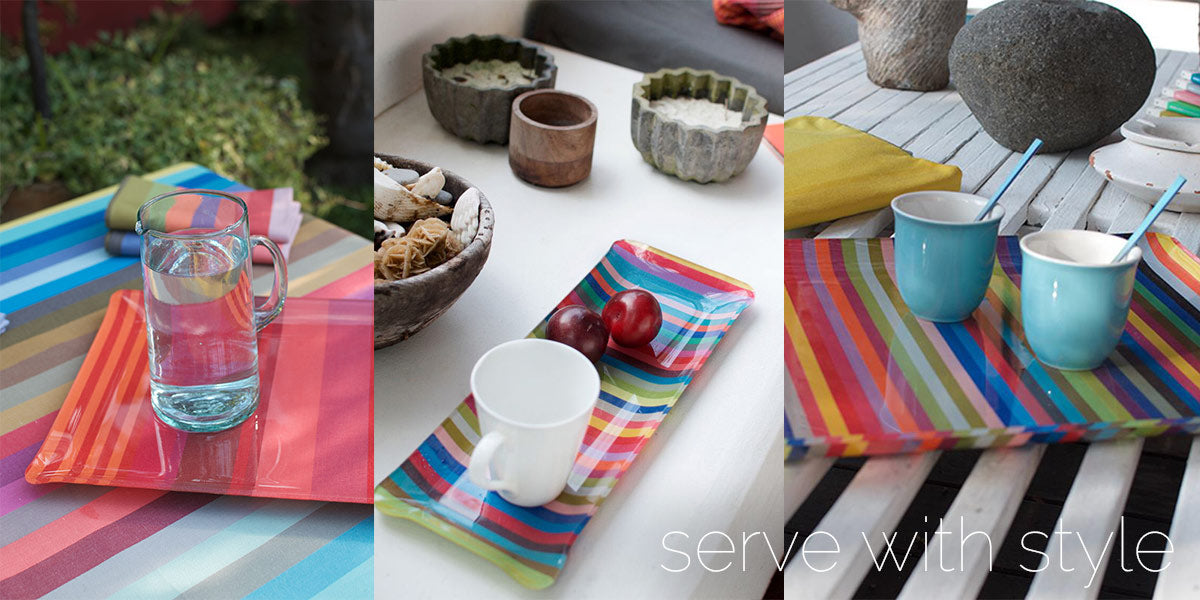 colorful serving trays