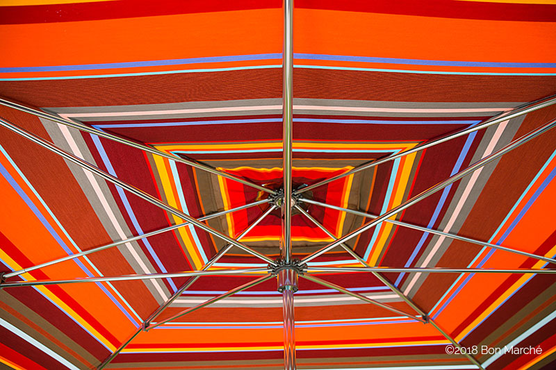 Striped patio umbrella