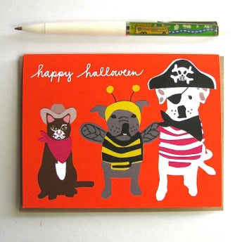 Pets in Costume Halloween Card
