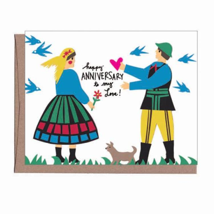 Folk Anniversary Card