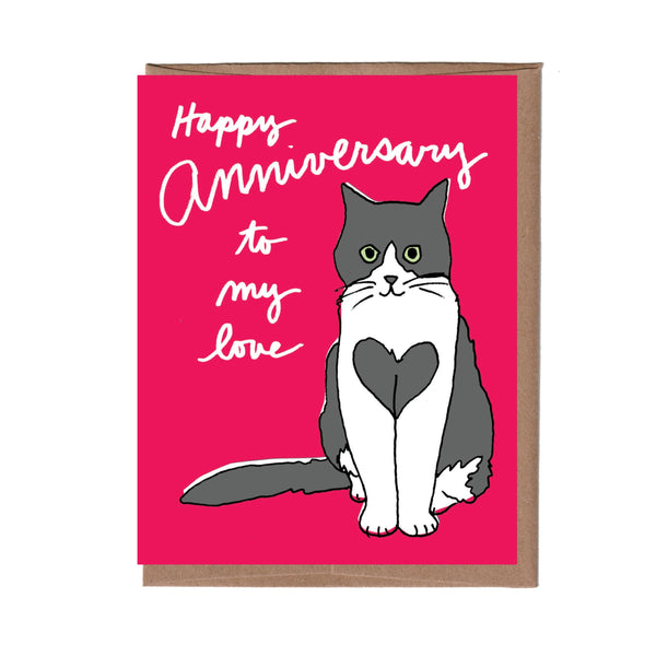 Heart Cat Anniversary Card