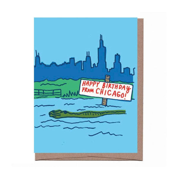 Chicago Alligator Birthday Card