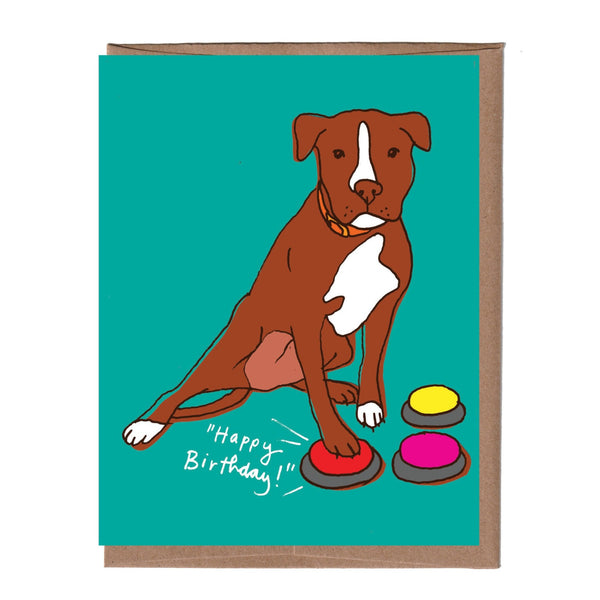 Dog Buttons Birthday Card