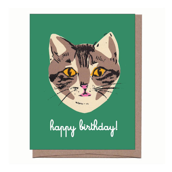 Green Cat Birthday Card