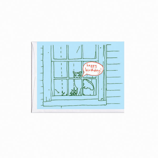 Cat in Window Birthday Card