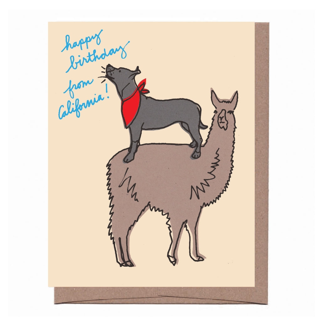 California Llama Dog Birthday Card