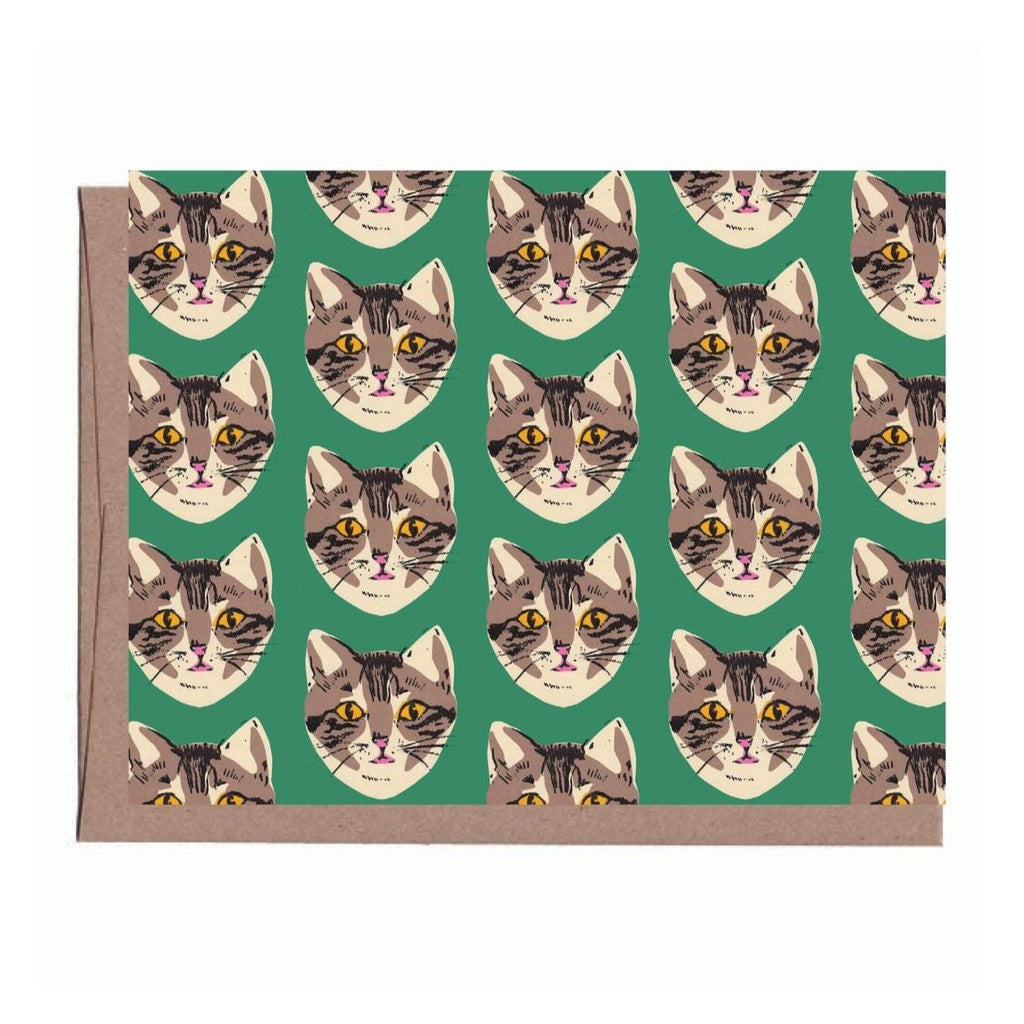 Green Cat Note Card