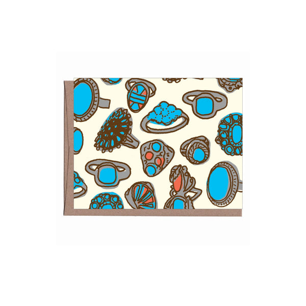 Turquoise Rings Note Card