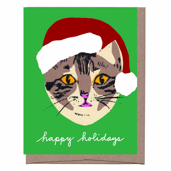 Green Cat in Santa Hat Holiday Card