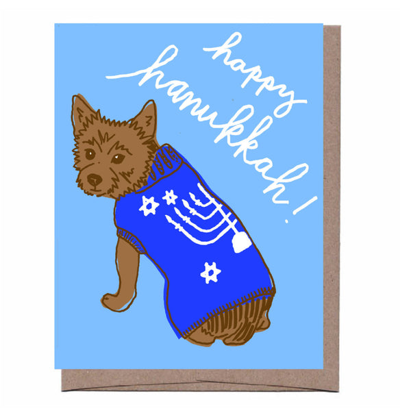 Hanukkah Dog Sweater Card