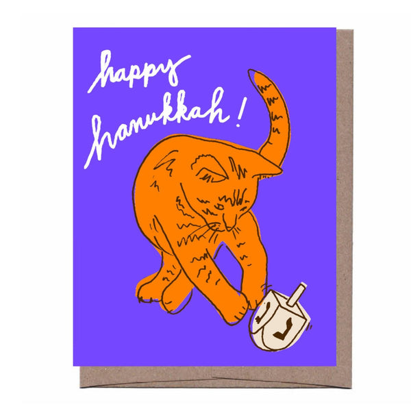 Dreidel Cat Hanukkah Card