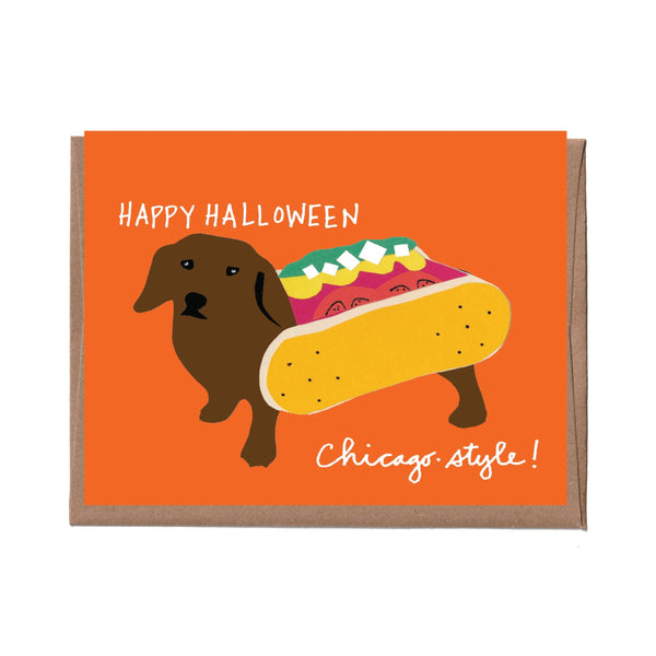 Chicago Halloween Hot Dog Halloween Card