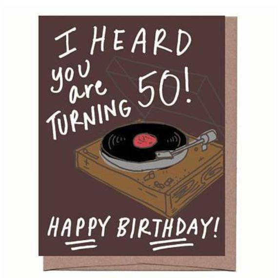 Turntable 50th Birthday Card