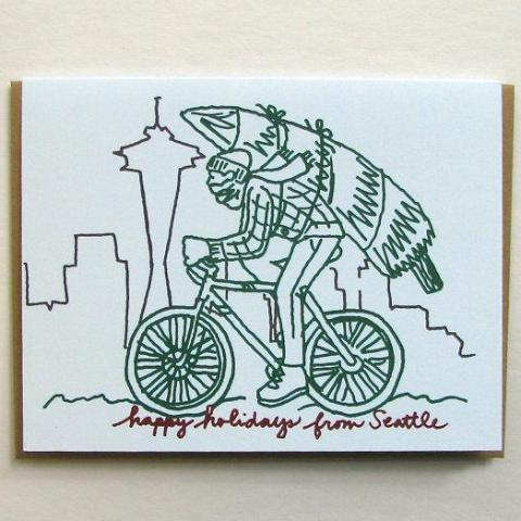 Seattle Winter Bike Holiday Card