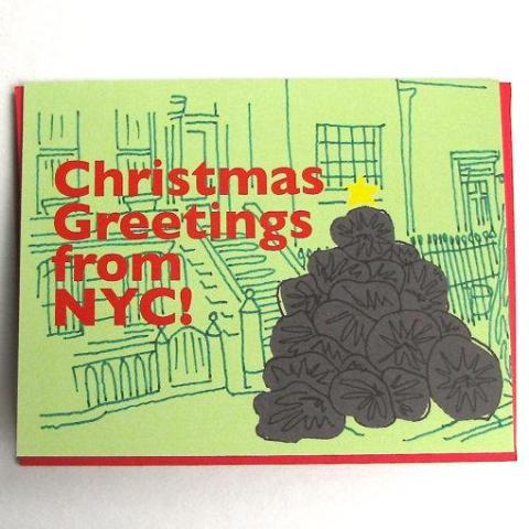 NYC Garbage Tree Holiday Card