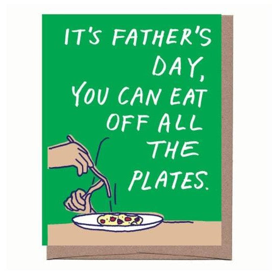 Eating off Plate Father's Day Card