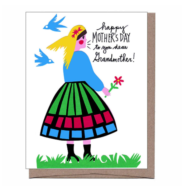 Folk Grandma Mother's Day Card