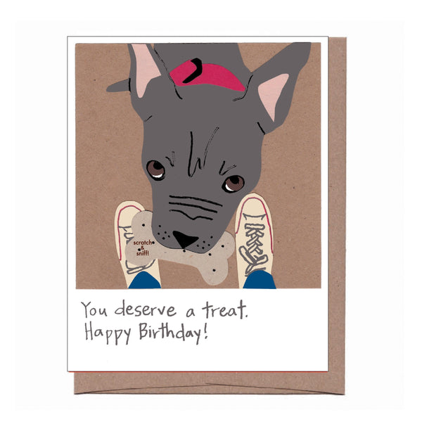 Scratch & Sniff Peanut Butter Dog Treat Birthday Card