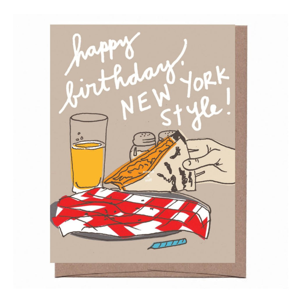 Scratch Sniff NYC Pizza Birthday Card