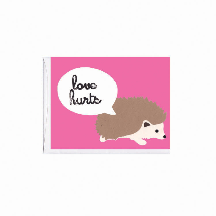 Love Hurts Hedgehog Love Note