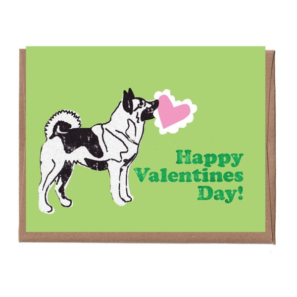 Norwegian Elkhound Valentine's Card
