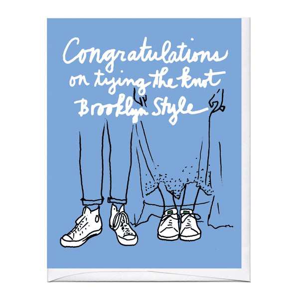 Brooklyn White Sneakers Wedding Card
