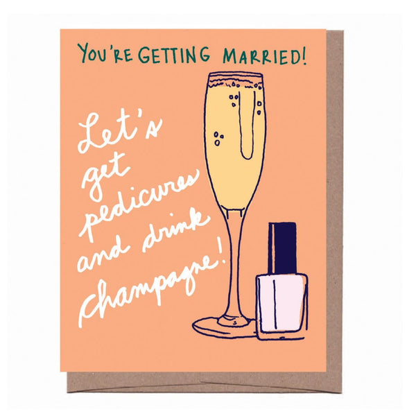 Champagne & Pedicure Wedding Card