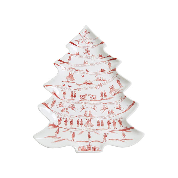 Country Estate Winter Frolic Ruby Tree Platter