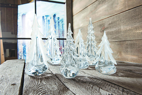 Simon Pearce New Vermont Snowy Branches Glass Evergreen Trees