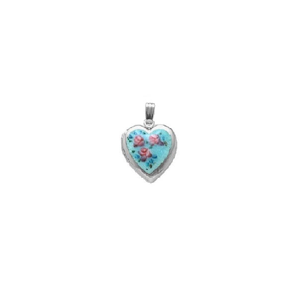 Sterling Silver Cloisonné Locket with Chain