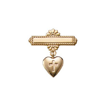 14 Karat Heart Cross Pin