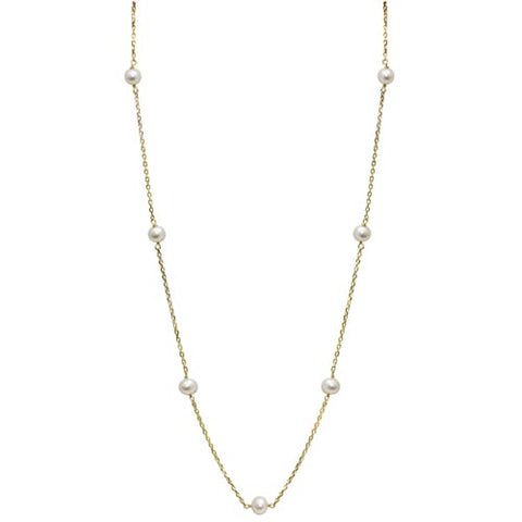 Child's 14 Karat Gold Pearl Station Necklace