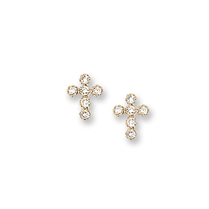 Child's 14 Karat CZ Cross Earrings