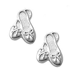 Child's Sterling Silver Ballet Slipper Earrings
