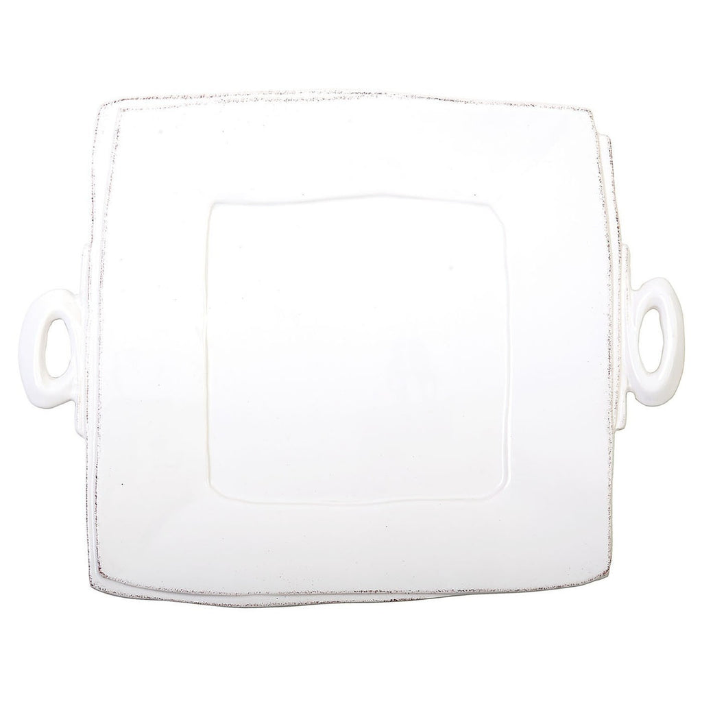 Lastra White Square Handled Platter