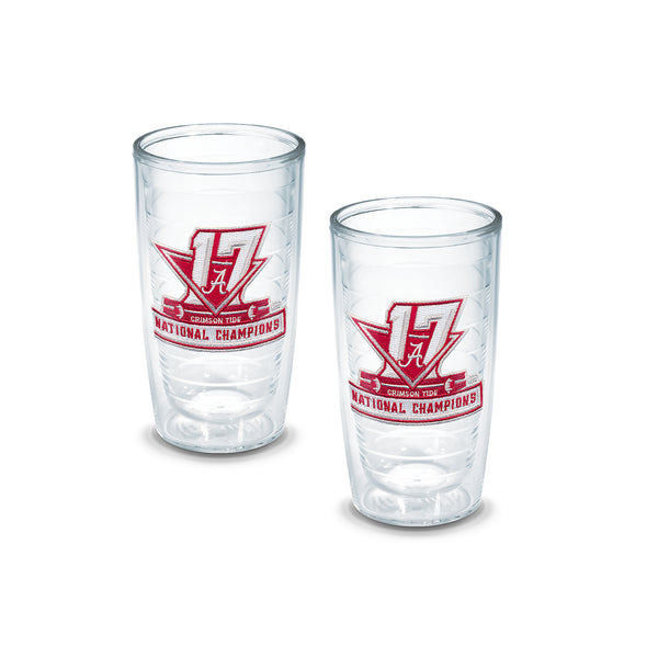 Set of Two 2017 Alabama National Championship Patch 16 Ounce Tervis Tumblers