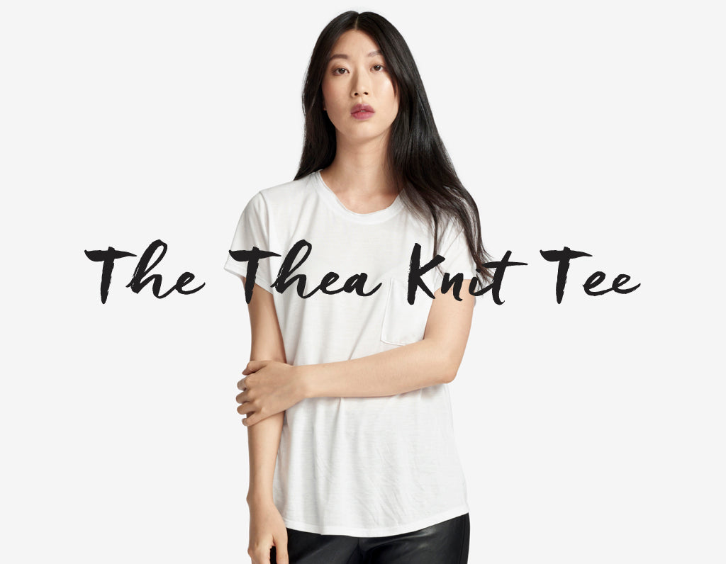 the thea knit white tee - classic white cotton tee on model