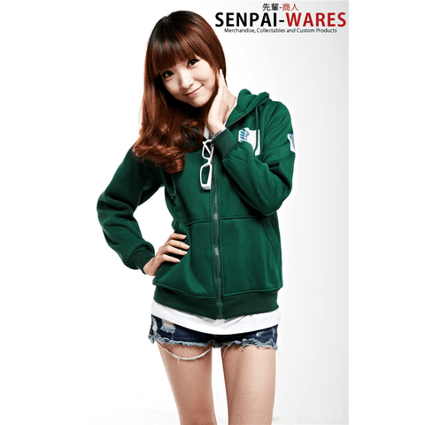 Attack on Titan - Unisex Green/Black Scouting Legion Hooded Sweater -  - SenpaiWares