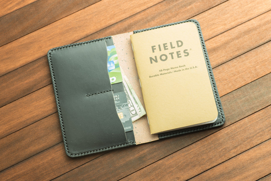 Black Leather Field Note Cover With Pockets  Levart