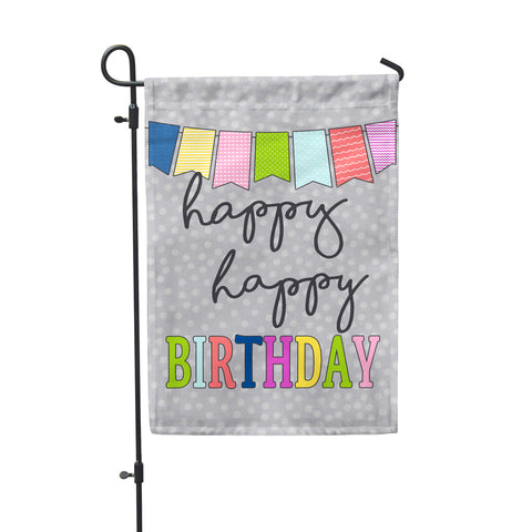 Happy Birthday Grey Garden Flag - Second East