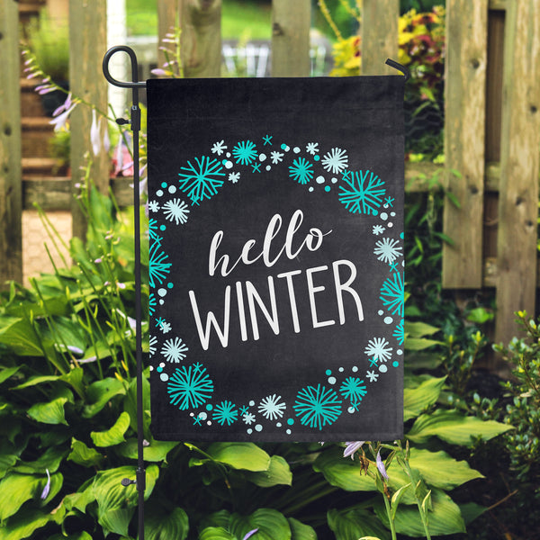 "Hello Winter Chlk Garden Flag 12"" x 18"" - Double Sided - Second East"