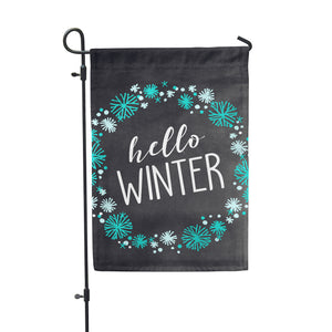 Hello Winter Chlk Garden Flag - Double Sided - Second East
