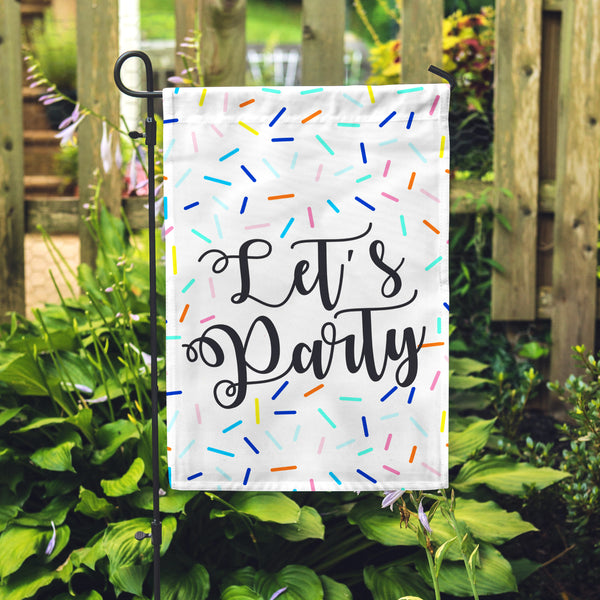 "Let's Party Garden Flag 12"" x 18"" - Second East"