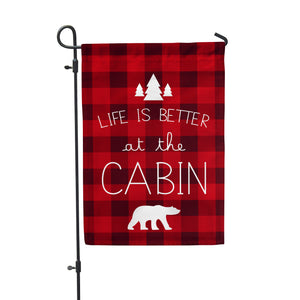 "Life is Better Cabin Garden Flag 12"" x 18"" - Second East"