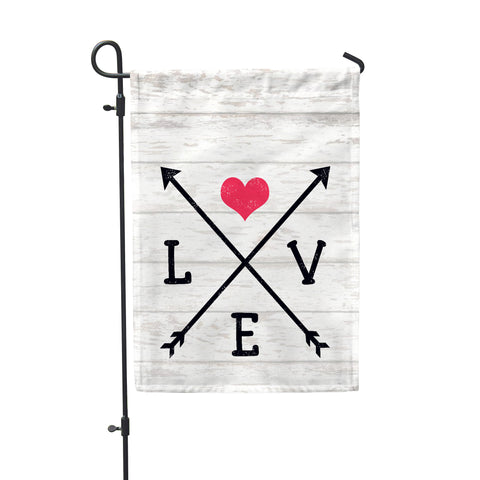 "Love Arrows Garden Flag 12"" x 18"" - Double Sided - Second East"