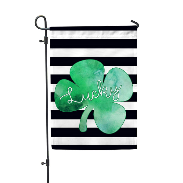 "Lucky Shamrock Garden Flag 12"" x 18"" - Double Sided - Second East"