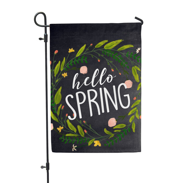 "Hello Spring Chlk Garden Flag 12"" x 18"" - Second East"