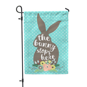 "Bunny Stops Here Garden Flag 12"" x 18"" - Double Sided - Second East"