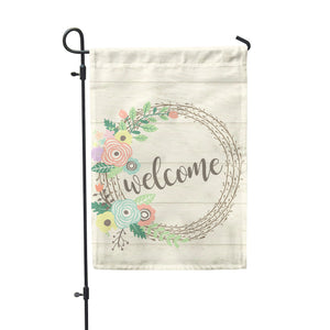 Welcome Pastel Wreath Garden Flag - Second East